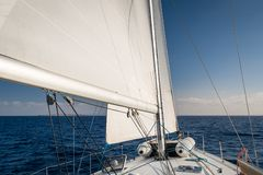 Sailing in Mediterranean sea Royalty Free Stock Photography