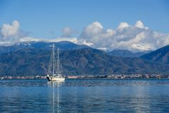 Sailing megayacht on awesome mountains background Royalty Free Stock Photography