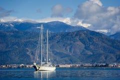 Sailing megayacht at nachor Stock Image