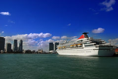Sailing into Miami Royalty Free Stock Image