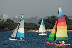 Sailing in Mission Bay 2. Two yachts and a catamaran are sailing in a Mission Bay, California on a nice summer afternoon Stock Images
