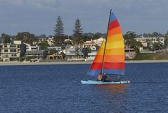 Sailing in Mission Bay 5. Two men are sailing a yacht with colorful sail in Mission Bay, San Diego, California Royalty Free Stock Photos