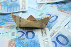 Sailing on money Royalty Free Stock Images