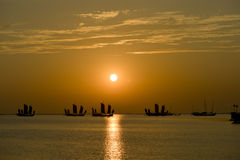 Sailing-more. Prominent sunrays,china royalty free stock photos