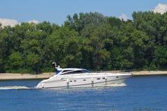 Sailing motor boat Stock Photo
