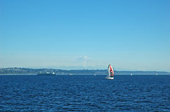 Sailing by Mount Rainier Stock Photo