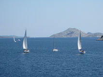 Sailing in the National Park Kornati Stock Photos