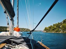Sailing and navigate in the mediterranean sea in summer.  stock images