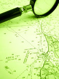 Sailing navigation chart with magnifier Royalty Free Stock Photography