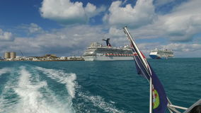 Sailing near the Bermuda islands-sightseeing tour and the cruise ship,Bermuda islands,North Atlantic ocean. 26th of October,2016 stock video