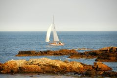 Sailing near coast Stock Photography