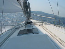 Sailing near Corfu. Tacking against the wind near Corfu stock image