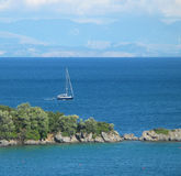 Sailing near Corfu. Sailing on the Ionian Sea stock photography