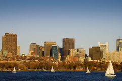 Sailing Near Downtown Boston Stock Images
