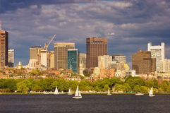 Sailing Near Downtown Boston Stock Photos