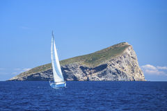 Sailing near the Greek islands in the Aegean Sea. Royalty Free Stock Photo