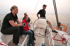 Sailing in the Netherlands. Sailing on the IJsselmeer at sunset in the Netherlands Stock Photo