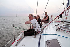 Sailing in the Netherlands at sunset. Sailing on the IJsselmeer at Pampus in the Netherlands with sunset Royalty Free Stock Image