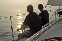 Sailing in the Netherlands at sunset Royalty Free Stock Photo