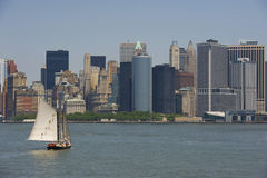 Sailing in new york. Sailing boat in new york city royalty free stock photos