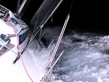 Sailing at night Royalty Free Stock Image