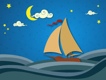 Sailing in the night Stock Photo