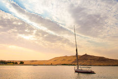 The sailing of the Nile in luxor, Egypt at sunset Stock Images