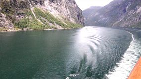 Sailing on a Norwegian Fjord stock footage