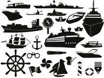 Sailing objects icon set Stock Photo