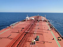 Sailing on the ocean of super tanker Stock Photography