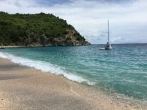 Sailing the ocean waters stock image