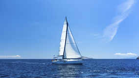 Sailing off the coast of Greece. Luxury yachts. Nature. Stock Image