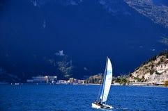 Sailing off Riva del Garda on Lake Garda Italy Stock Photography
