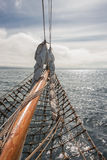Sailing on the old boat towards adventures, summer time Royalty Free Stock Photos