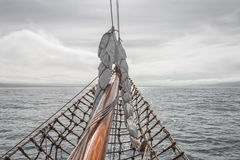 Sailing on the old boat towards adventures, summer time Royalty Free Stock Image