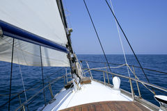 Sailing with an old sailboat. Over blue mediterranean summer sea Stock Photo