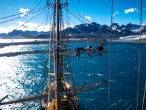Sailing on old tallship, aloft Royalty Free Stock Images