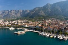 Free Sailing On Adriatic Sea Makarska Korcula Croatia Aerial Drone Photo. Yacht In Marina, Sailing In Croatia. Royalty Free Stock Images - 182325529