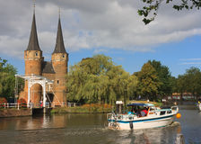 Sailing on Oostgate, Delft Royalty Free Stock Images