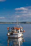 Sailing out. Fishing boat sailing out from the Ballycotton harbor royalty free stock photography