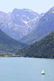 Sailing over the Achensee in Austria Stock Photo