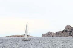 Sailing over Mediterranean along the french calanques, Marseille Stock Photo