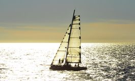 Sailboat on the Pacific Ocean Stock Photography