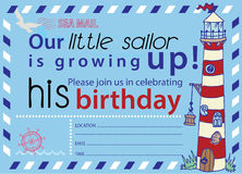 Sailing Party Birthday Invitation No1 Royalty Free Stock Photography