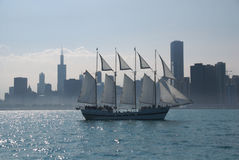 Sailing Past Chicago. Boat sailing on Lake Michigan, in front of the Chicago Skyline, July 2007 Stock Images