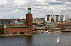Sailing past the City Hall in Stockholm. View of the City Hall and downtown from water, Stockholm, Sweden Stock Photography