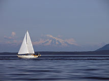 Sailing Past Mount Baker. Having a fun summer sail in the southern Gulf Islands of British Columbia, with Mount Baker in Washington State in the background Royalty Free Stock Photos