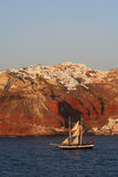 Sailing past Santorini. Royalty Free Stock Image