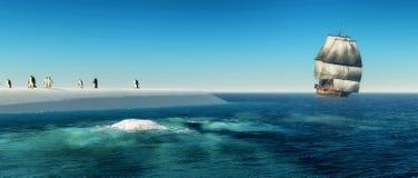 Sailing and penguins Stock Photos