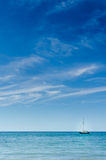 Blue Ocean Sea Sky Sailing Boat Yacht Luxury Lifestyle. Vertical Royalty Free Stock Images